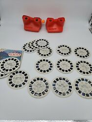 Vintage 3d Viewmaster Lot Of 2 With 17 Slides Black Hills Glacier Np And More