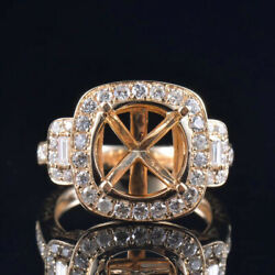 Antique Round 10mm Natural Diamond Semi Mount Ring Setting Solid 14k Yellow Gold