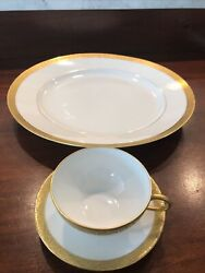 Limoge France Union China 12 Round Chop Plate Gold Encrusted 1 Cup And Saucer