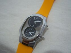 Philip Stein 3 Atm Water Resist Silicone Orange Band Dual Time Zone Oval Face
