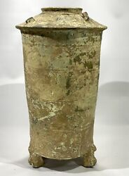 Antique Han Dynasty Cylindrical Granary Tower Tomb Pottery Vase 206 Bc - 220 Ad
