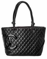 Chanel Black Quilted Lambskin Leather Cambon Tote Women#x27;s $1800.00