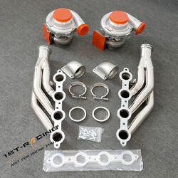 For Ls1 Ls6 Lsx Gm T4 Ar.80/.96 Pair Oil Turbos+exhaust Manifold+2xcast Elbows