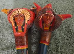 Penobscot Root Club Pair Native American Maine Carved Chip Paint Over 24 Inches
