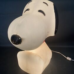 Vintage Peanuts 1984 Light Up Snoopy Working Plastic Lamp 18 Inches / Bg