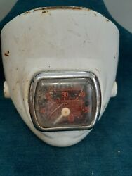 Vintage White Motorcycle Or Moped Headlight-steampunk Speedometer Odomeder