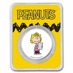 Peanuts Sally Brown 1 Oz Colorized Silver Round Tamper Evident Packaging