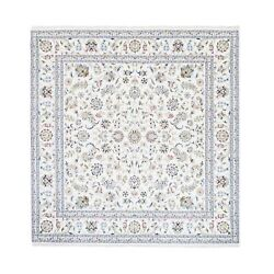 8and039x8and039 All Over Design Square Wool And Silk 250 Kpsi Nain Hand Knotted Rug G62765