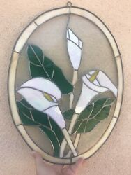 Opalescent White Calla Lilly Stained Glass Oval Shaped Wall Hanging
