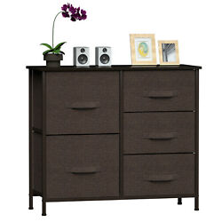 2-7 Pcs Chest Of Drawers Wide Bedroom Furniture Cabinet Draws Tall Brown Storage