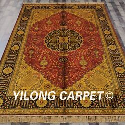 Yilong 6and039x9and039 Handmade Silk Carpet Gold Washed Palace Antique Area Rug G44c