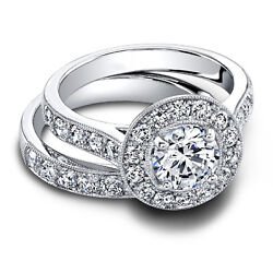 1.80 Carat Real Diamond Bridal Band Sets 14k Solid White Gold Rings Size 5 6 7 8