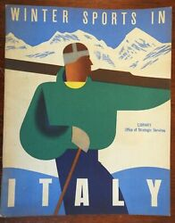 Winter Sports In Italy 1937 Art Deco Illustrated Tourism Guide Oss Wwii Stamp