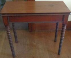 Antique Folding Gaming Table – Spooled Legs – Vgc – With Storage In Table