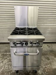 24 Range 4 Open Flame Burner Hot Plate And Std Gas Oven Atosa On Wheels 5876-ob