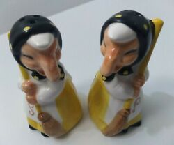 Health And Happiness Kitchen Witch Salt And Pepper Shakers Vintage 1980 Japan