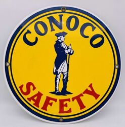 Vintage Conco Safety Round Metal Sign Texas Rustic Man Cave Oil Gas