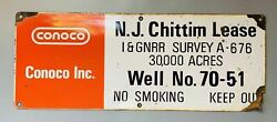 Vintage Conco Metal Sign Chittim Lease Well 70-51 Texas Rustic Man Cave Oil Gas