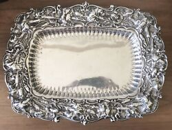 Antique Whiting Sterling Carnation Repousse Vegetable Dish Lg Serving Bowl Dish