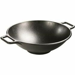 14in Pre Seasoned Cast Iron Wok With Flat Base And Loop Handles For Braise Fry