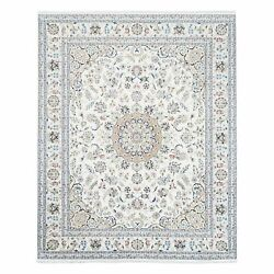 7and03910x10and0391 All Over Design Wool And Silk 250 Kpsi Nain Hand Knotted Rug G62797
