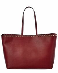 Valentino Rockstud Large Leather Shopper Tote Women#x27;s $1119.99