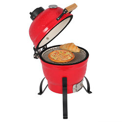 13in Charcoal Grill, Built-in Wheels And Ash Catcher, Heat Control, Red