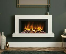 Modern Hang On Wall Mounted White Marble Electric Fire Elgin And Hall Pryzm Impero