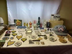 Junk Drawer Lot Pins Bottle Openers Boy Scout Patches Military Patches Badge