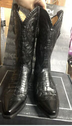 Lucchese Boots Size 12d Handmade Gy1001 Mens Blacks Ultra Belly Exotic Weston