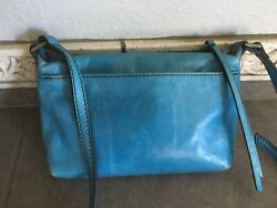 HOBO INTERNATIONAL Alexis Leather Crossbody Bag Blue Green Turquoise $55.00