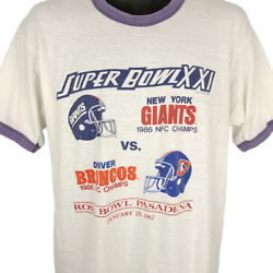 Super Bowl Xxi T Shirt Vintage 80s 1987 New York Giants Broncos Made In Usa Xl