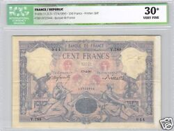 France 100 Francs Blue And Pink 14-4-1890 Alphabet Y.789 Year Very Rare