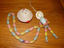 1920s 3 Rare Celluloid Baby Pastel Wooden Doll Rattle Toys On String