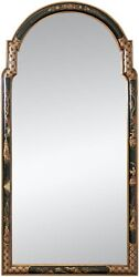 Antique Hand Painted Arched Form Chinoiserie Wall Mirror