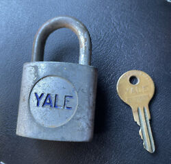 Vintage Yale Lock With Brass Key Working Padlock
