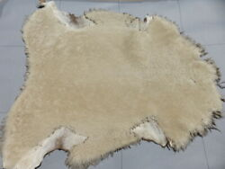 Sheepskin Shearling Leather Hide Thick Natural Curly Hair W/brown Bomber Back