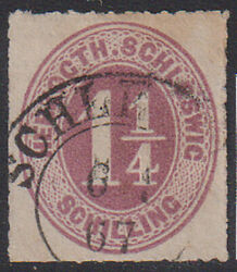 Schleswig-holstein 1865 1 1/4 Sh. Red-lila Mi 14 - 30 Euro Used Scarce And Rare