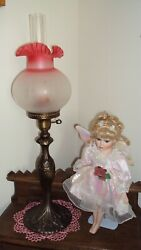 Vtg. Banquet/parlor Lamp 29-1/2 Tall X 4 Fitter Cranberry Frosted Ruffle Shade
