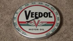 Vintage Veedol Motor Oil Thermometer Pam Clock Co. Inc New Rochelle Ny Rare