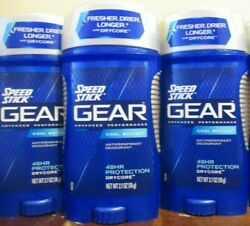 Lot Of 3 Speed Stick Gear Deodorant Cool Motion 2.7 Oz