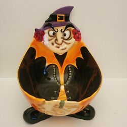 Halloween Candy Bowl Witch Trick Or Treat Dish Ceramic 2.3 Qt By Ucp Costco