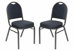 Oef Furnishings Premium Fabric Upholstered Stack Banquet Chair Navy Pattern/s...