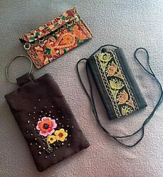 Ethnic Clutch Purses Bags Embroidered Beaded Wallet Wristlet Women $5.00