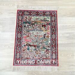Yilong 1.5'x2' Handknotted Silk Area Rug Country Life Tapestry Carpet 095h