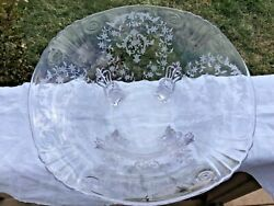 """Fostoria Navarre 4 Footed Large Bowl 10 1/2"""" Somewhat Harder To Find"""