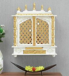 Indian Handmade Wooden Rajasthani Handpainted Temple With Light White Gold