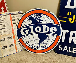 30andrdquo Globe Gasoline Double Sided Porcelain Sign Sinclair Shell Texaco Mobil