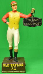 Old Taylor 86 Kentucky C1950s Jockey Mascot W/ The Sign Of A Good Host