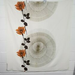 Mcm 60and039s Certified Hand Print Fabric Circles W/flowers Wall Art 47.5 W X 52 L